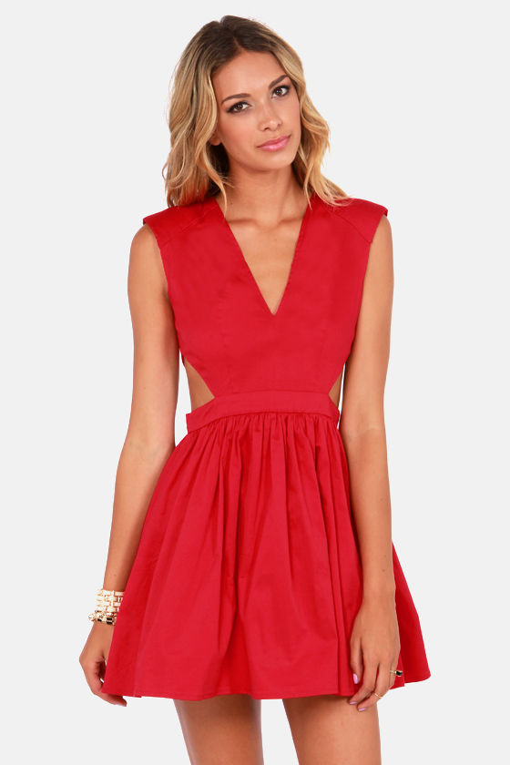 Brat Pack Cutout Red Dress at Lulus.com!