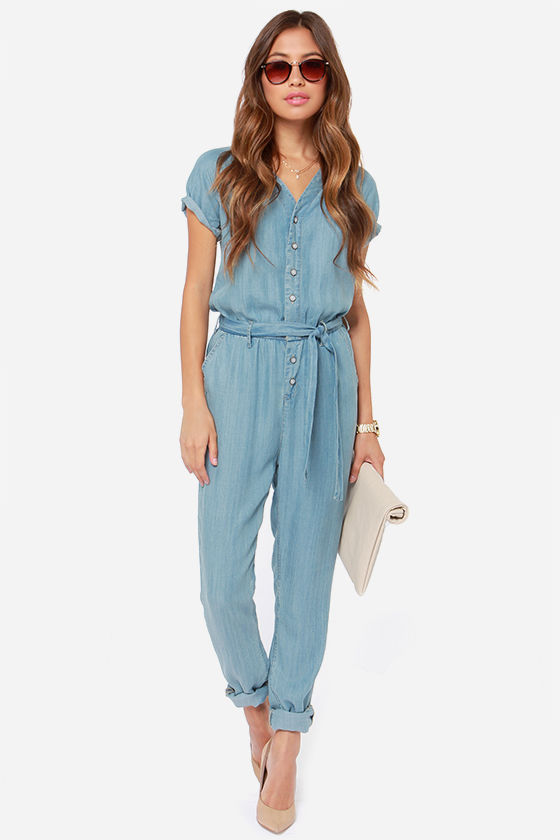 Dittos Sela Jumpsuit - Denim Jumpsuit - Blue Jumpsuit - $129.00