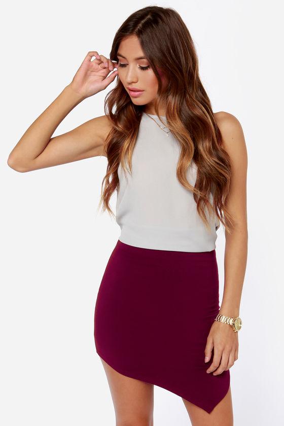 Cute Burgundy Skirt - Asymmetrical Skirt - Pencil Skirt - $27.00
