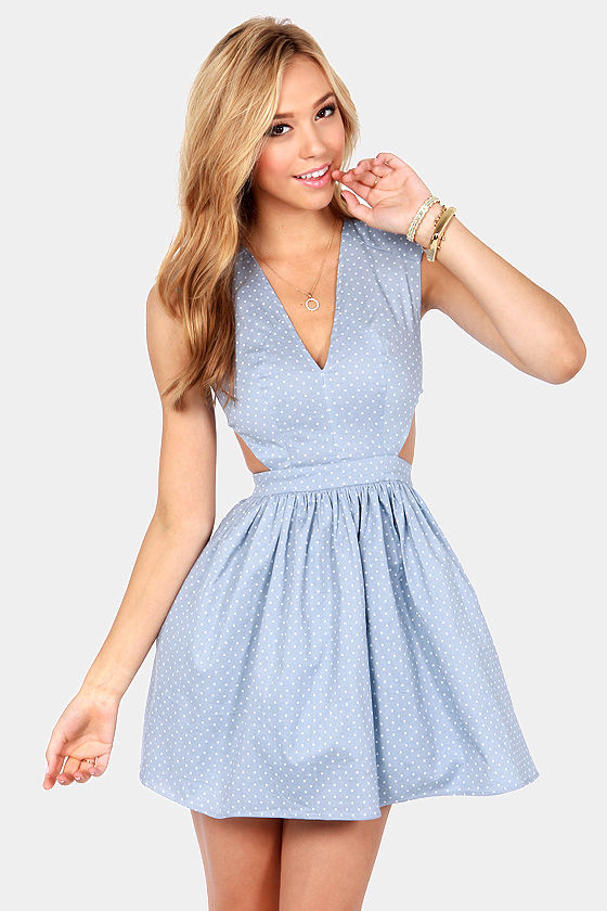Brat Pack Blue Cutout Polka Dot Dress at Lulus.com!