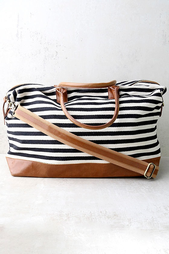 LULUS Exclusive Jet Setter Cream and Black Striped Weekender 1