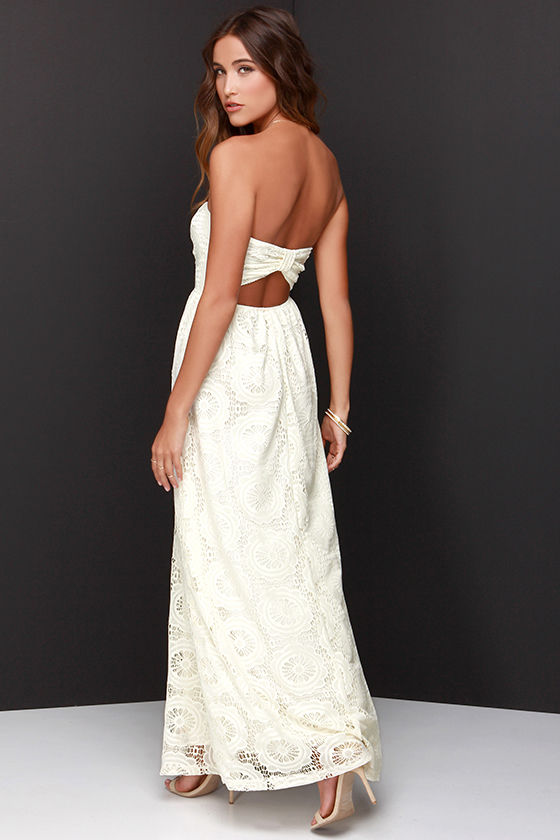 Lovely Strapless Dress - Cream Dress - Lace Dress - Maxi Dress ...