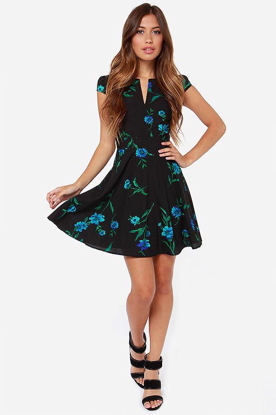 LULUS Exclusive Temple of Bloom Black Floral Print Dress at Lulus.com!
