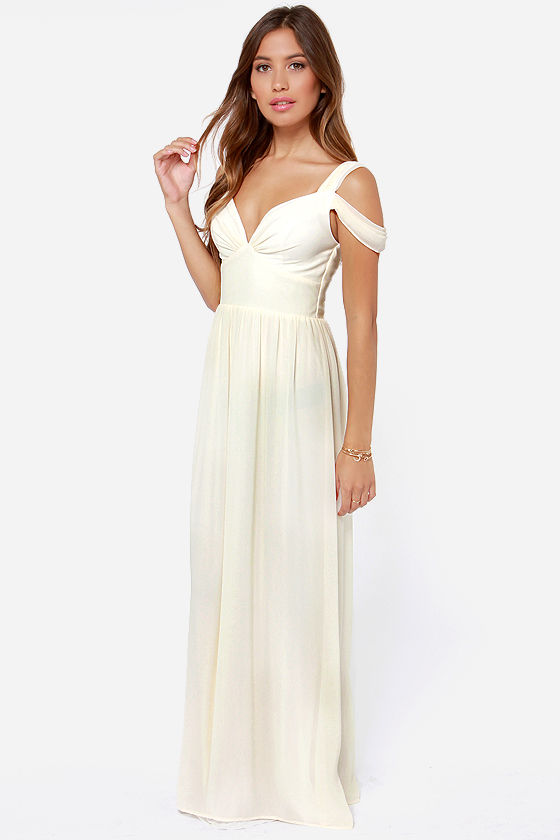 Elegant Cream Dress - Maxi Dress - Prom Dress - Bridesmaid Dress ...