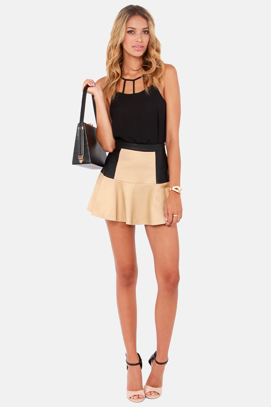 The Trumpet Card Black and Beige Vegan Leather Skirt at Lulus.com!