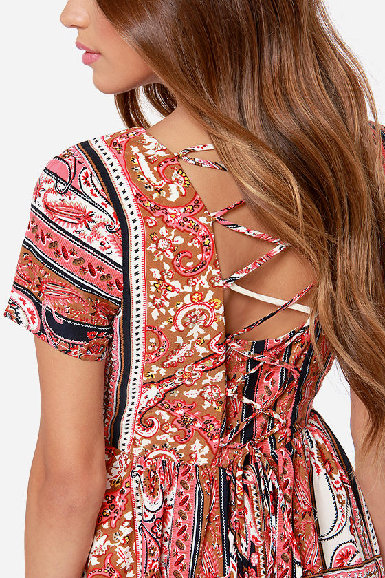 LULUS Exclusive Neapolitan Festival Brown Print Dress at Lulus.com!