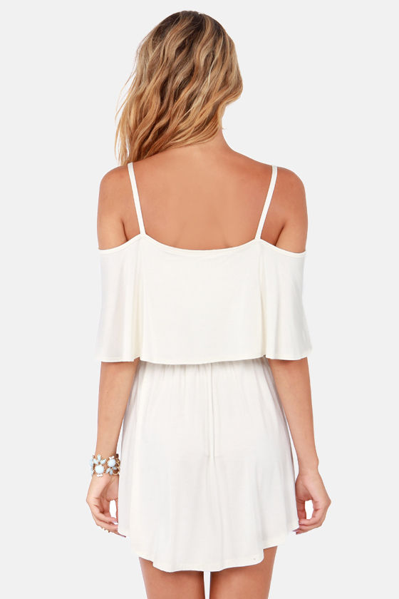 Easy on the Eyes Off-the-Shoulder Ivory Dress at Lulus.com!