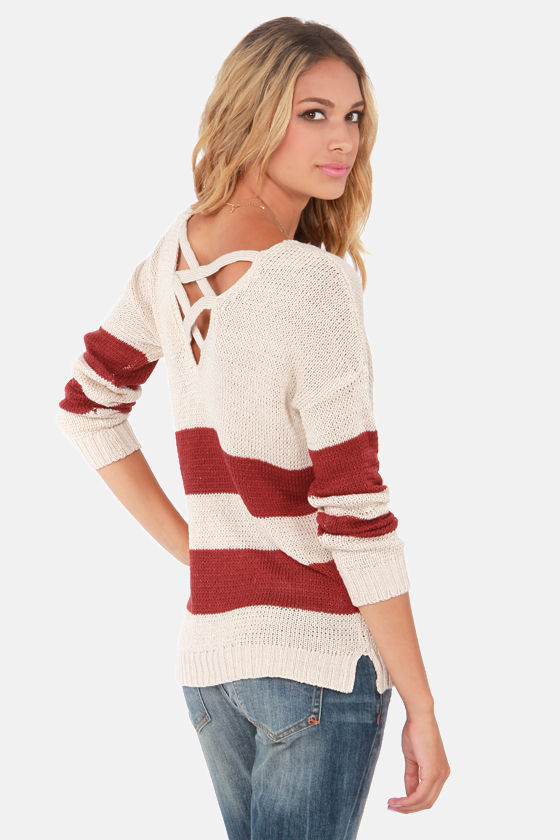 Olive & Oak My Sweater Half Red and Cream Sweater at Lulus.com!