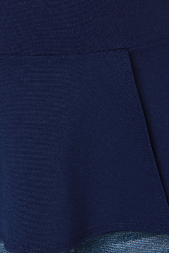 LULUS Exclusive Keeping it Classy Navy Blue Peplum Top at Lulus.com!