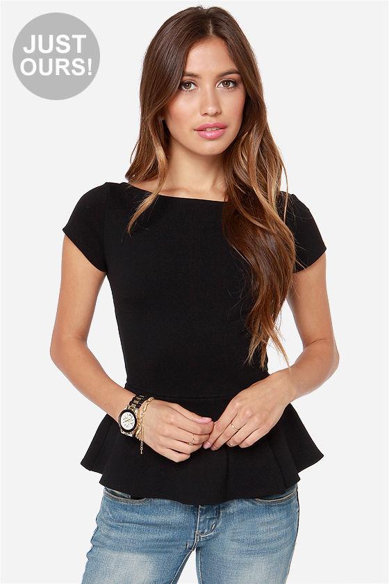 Black Peplum Top - Short Sleeve Top