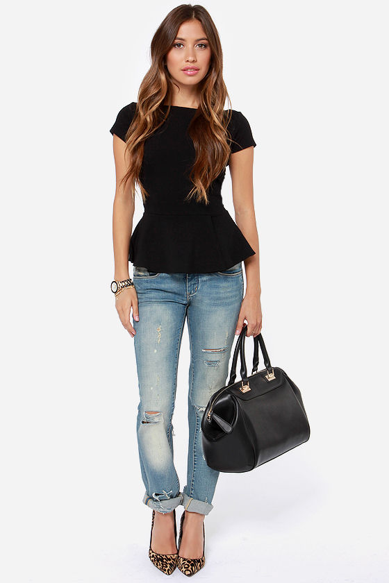 LULUS Exclusive Keeping it Classy Black Peplum Top at Lulus.com!