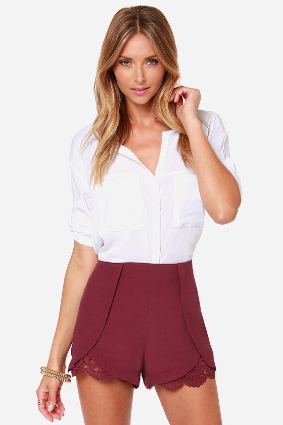 0cfaedde1d85 Burgundy Shorts - Burgundy Lace Shorts -  40.00