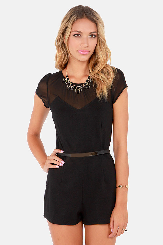 I'm Mesh About You Black Belted Romper at Lulus.com!