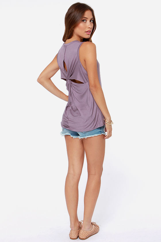 LULUS Exclusive Twisted Sister Dusty Purple Tank Top at Lulus.com!
