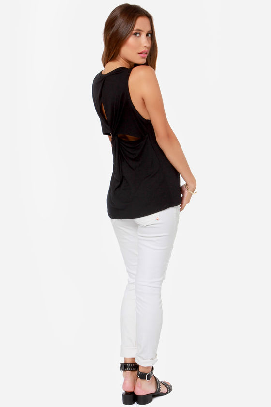 LULUS Exclusive Twisted Sister Black Tank Top at Lulus.com!