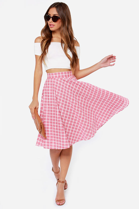 Red Plaid Skirt - Cute Summer Skirt - White Plaid Skirt - $47.00