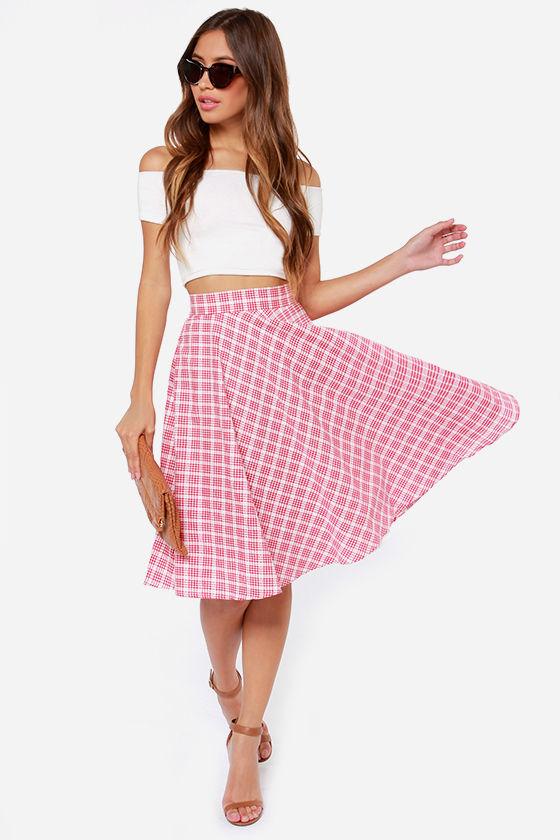 7d5b41e8ed6 Red Plaid Skirt - Cute Summer Skirt - White Plaid Skirt -  47.00