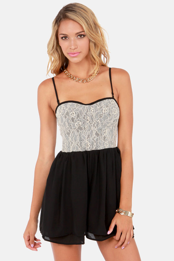 Corsets 'n' Lace Black Lace Romper at Lulus.com!
