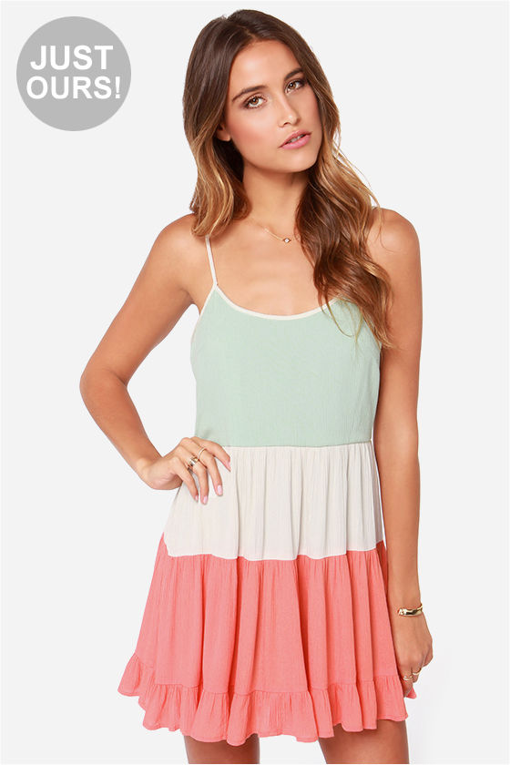 LULUS Exclusive Tier Candy Mint and Coral Dress at Lulus.com!
