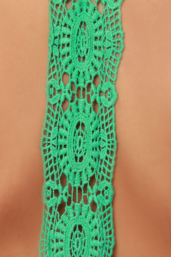 Don't Slow Down Green Crochet Dress at Lulus.com!