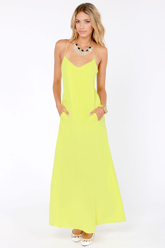I'll Slink to That Chartreuse Maxi Dress - $25 : Fashion ...