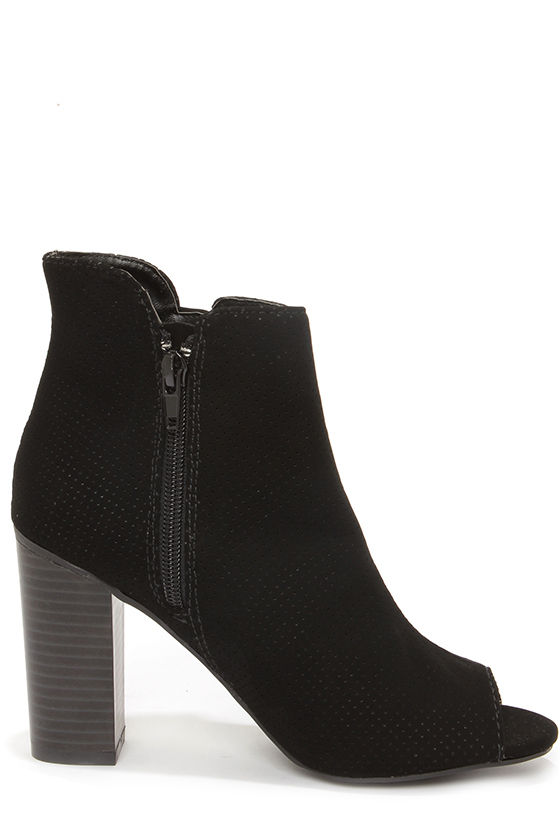 Bamboo Abbatha 13 Black Nubuck Perforated Peep Toe Booties at Lulus.com!