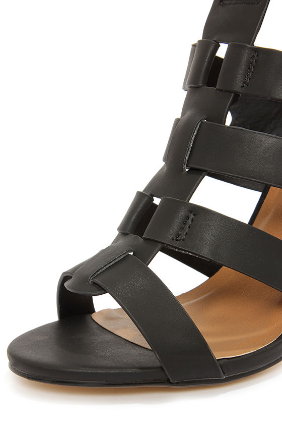 Dollhouse Heritage Black Caged High Heel Sandals at Lulus.com!
