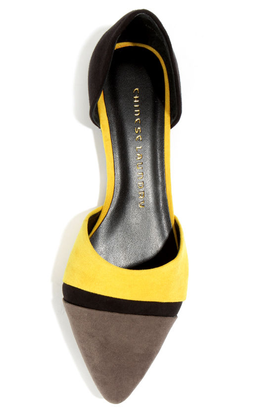 Chinese Laundry Easy Does It Yellow, Grey, and Black Flats at Lulus.com!