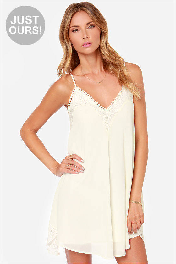 LULUS Exclusive Noir or Never Ivory Lace Dress at Lulus.com!