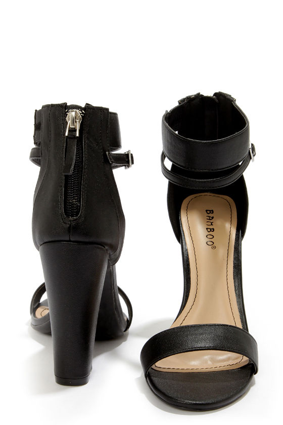 Bamboo Senza 01 Black Single Strap High Heels - $31.00