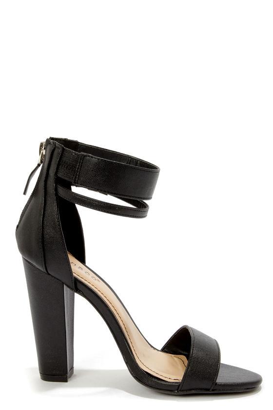 Bamboo Senza 01 Black Single Strap High Heels - $31.00