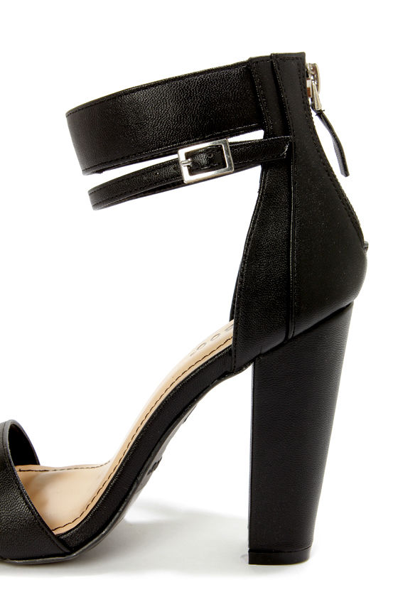 Bamboo Senza 01 Black Single Strap High Heels at Lulus.com!