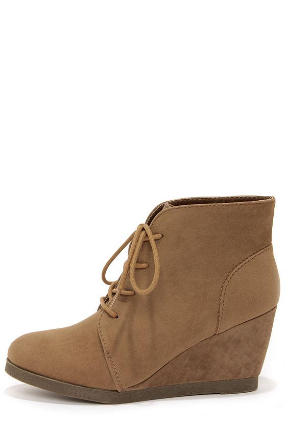 Cute Wedge Booties - Taupe Booties - Desert Boots - $59.00