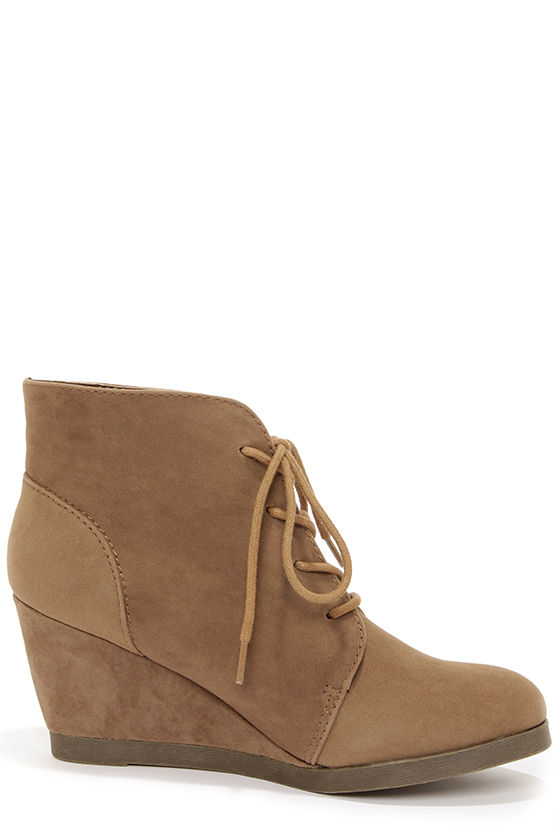Madden Girl Domain Taupe Suede Wedge Booties at Lulus.com!