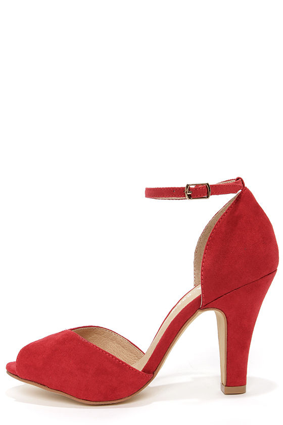 Pretty Red Shoes - Peep Toe Heels - Ankle Strap Heels - $65.00