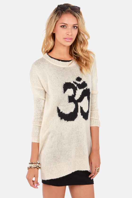 Mink Pink Om Print Cream Knit Sweater at Lulus.com!