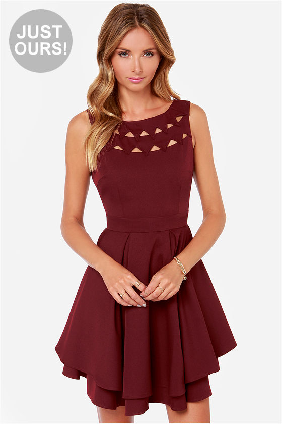 Burgundy Dress - Backless Dress - Cutout Dress - $55.00