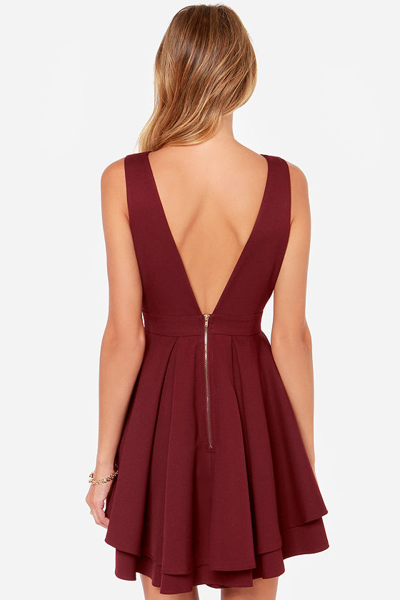 LULUS Exclusive Flirting with Danger Cutout Burgundy Dress at Lulus.com!