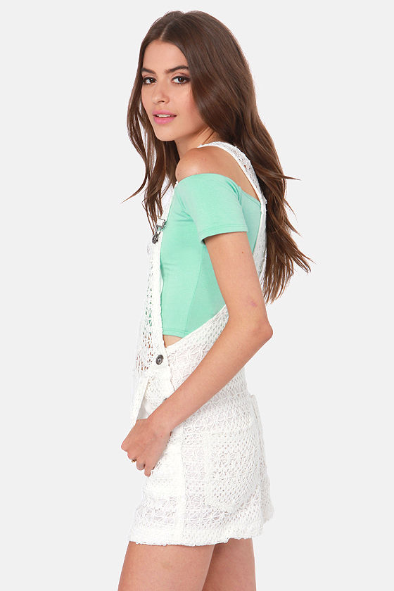 No Way Crochet Ivory Overalls at Lulus.com!