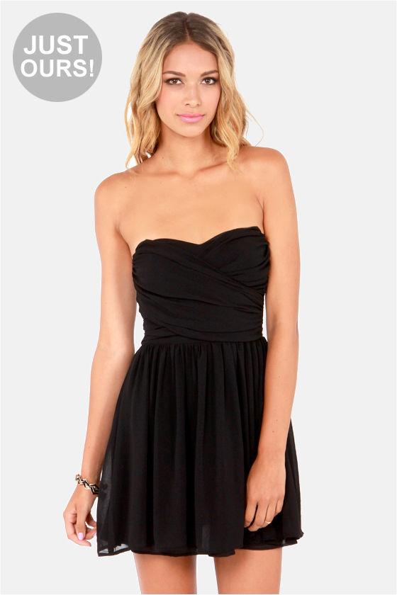 Lovely Strapless Dress - Black Dress - Party Dress - $49.00