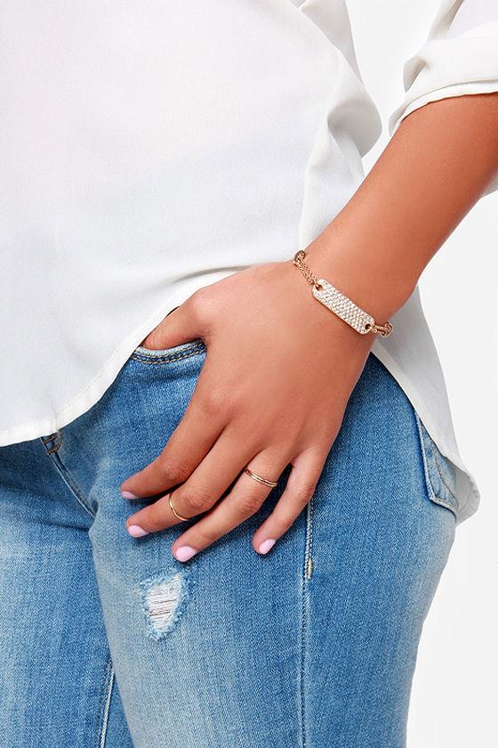 Tag Along Gold Rhinestone ID Bracelet at Lulus.com!