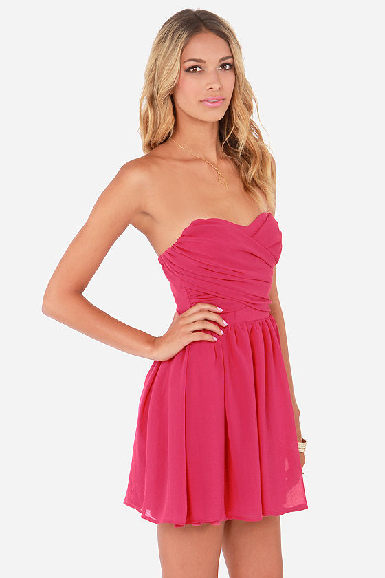 LULUS Exclusive Sash Flow Strapless Fuchsia Dress at Lulus.com!