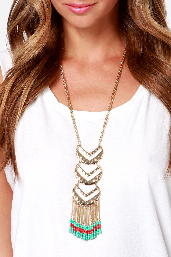 Trial and Arrows Gold Beaded Necklace at Lulus.com!