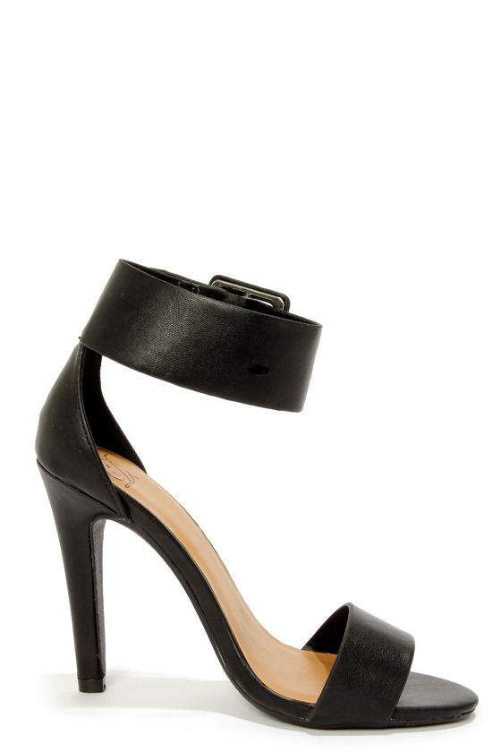 My Delicious Vodka Black Buckled Single Strap Heels at Lulus.com!