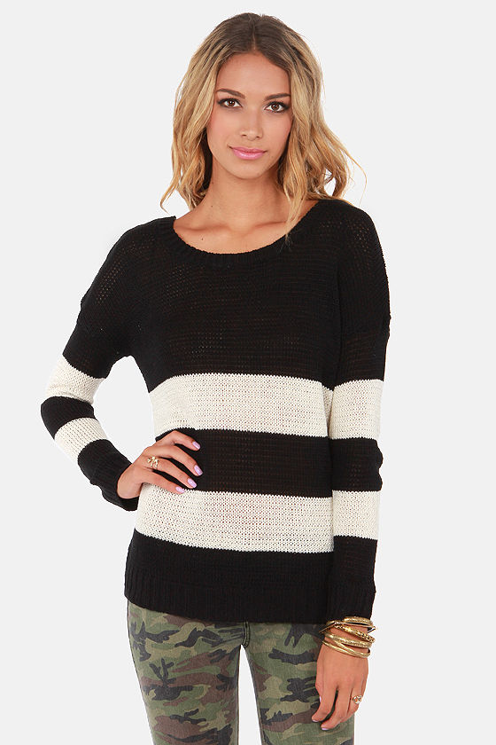 Olive & Oak My Sweater Half Ivory and Black Sweater at Lulus.com!