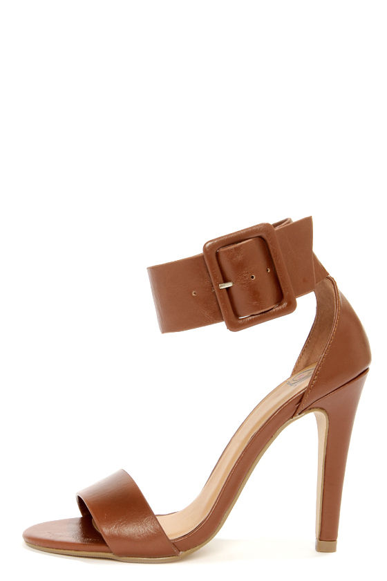 My Delicious Vodka Tan Buckled Single Strap Heels at Lulus.com!