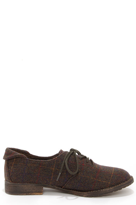 Blowfish Tane Brown Tweed Oxford Flats at Lulus.com!