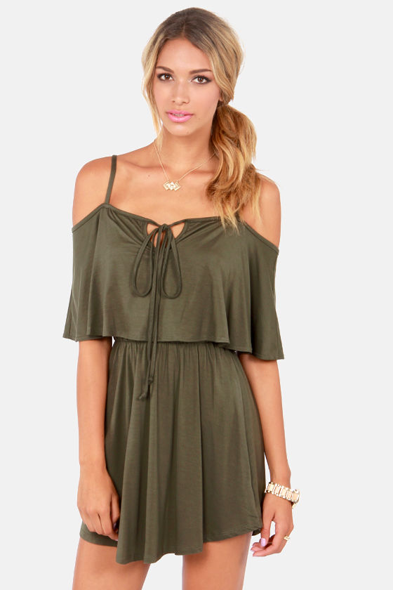 Easy on the Eyes Off-the-Shoulder Olive Green Dress at Lulus.com!