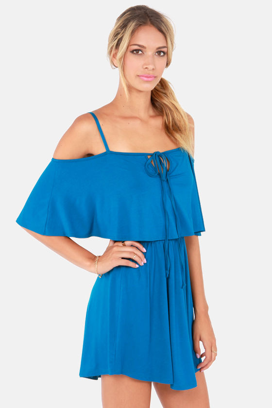 Easy on the Eyes Off-the-Shoulder Dark Teal Dress at Lulus.com!