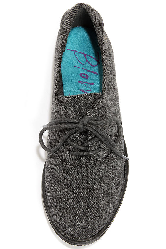 Blowfish Tane Grey Herringbone Oxford Flats at Lulus.com!